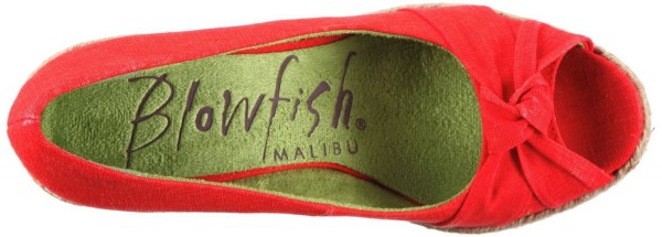 Blowfish Vanamo Peep Toe Plateaupumps red distressed Linen – Bild 3