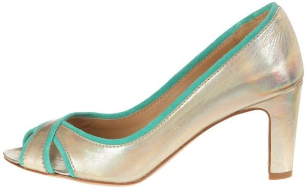 Atelier Voisin Peep Toe Pumps Leder gold green – Bild 1